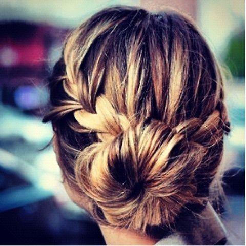 How cute is this braid/bun?! // #hair #style