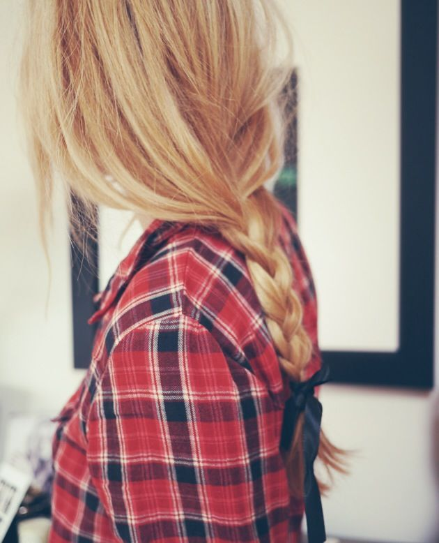 loose braid with a bow