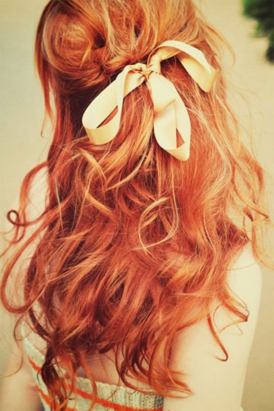 Obsessed with these pretty waves tied up with a ribbon! // #hair #style