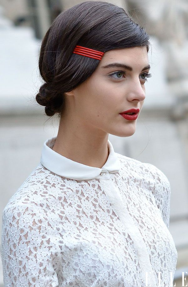 red bobby pins in hair