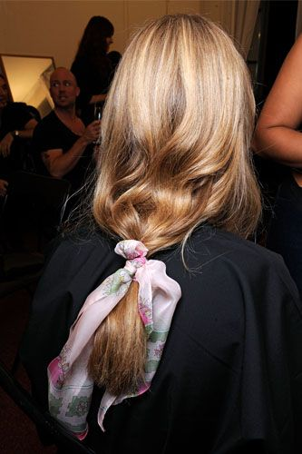 tie a silk scarf in your hair for a cute look
