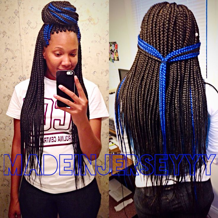 Box braids with color. Blue box braids
