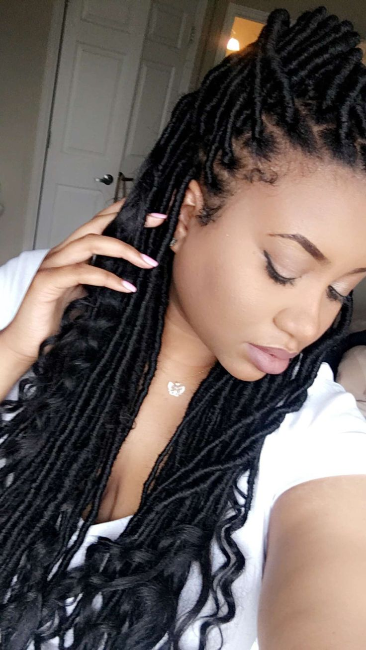 Goddess faux locs faux locs natural braids hair protective style Instagram…