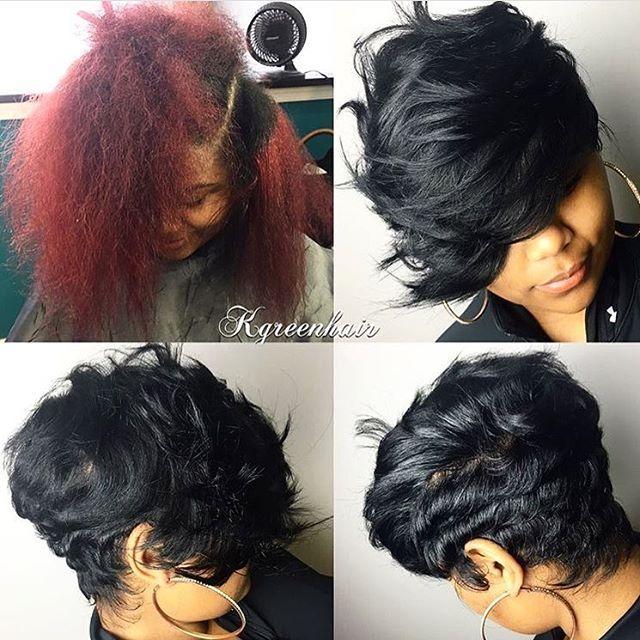 The switch up✂️ Love that heavy bang❤️ #dmvstylist K.green_hair #shortcu...