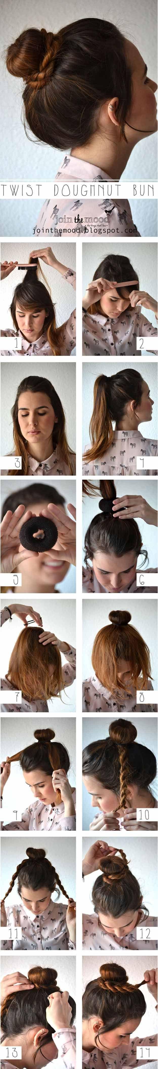 Best Hairstyles For Teens - Twist Doughnut Bun- Easy And Cute Haircuts And Hairs...