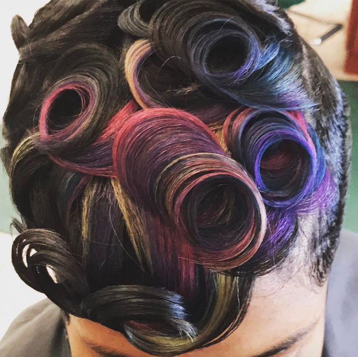 Creative colored pin curls via @salonchristol - blackhairinformat...