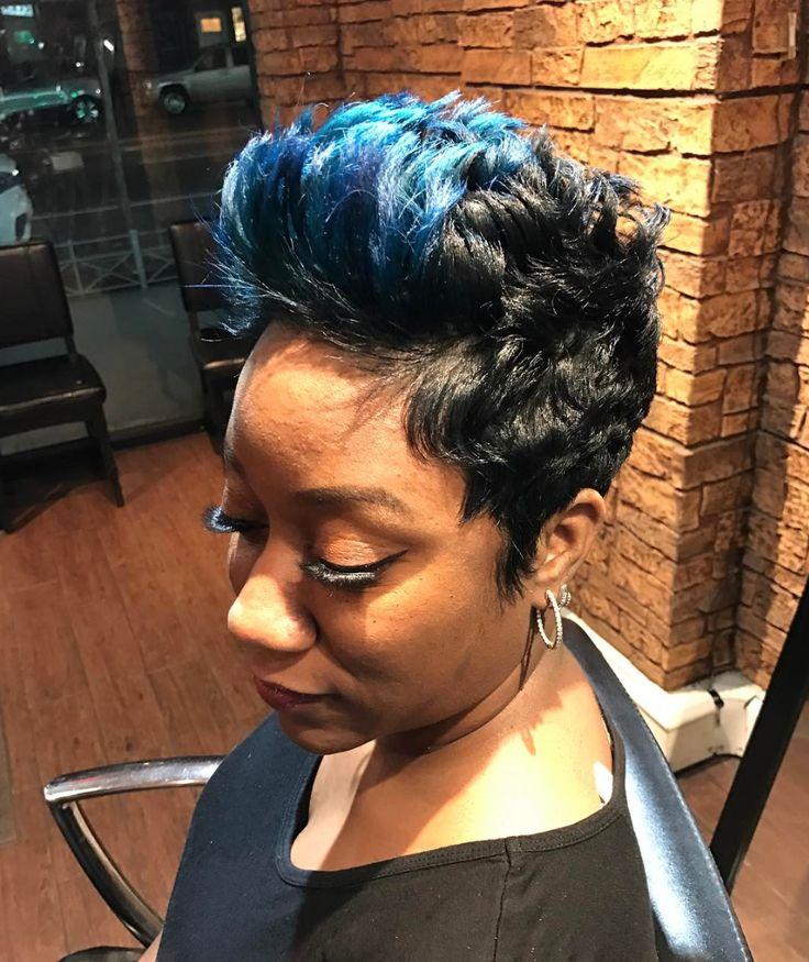 Fun splash of blue via @artistry4gg - blackhairinformat...