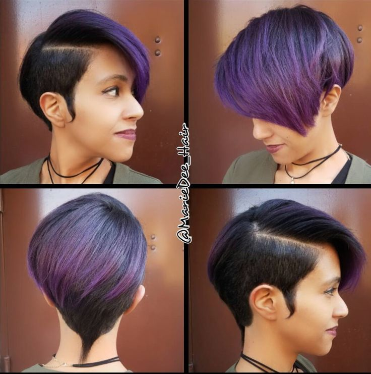 Gorgeous purple pixie @mariedee_hair  Read the article here - blackhairinformat....