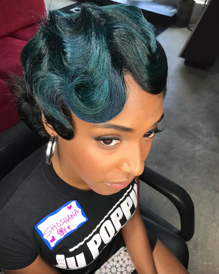 Love this touch of teal by @artistry4gg - blackhairinformat...