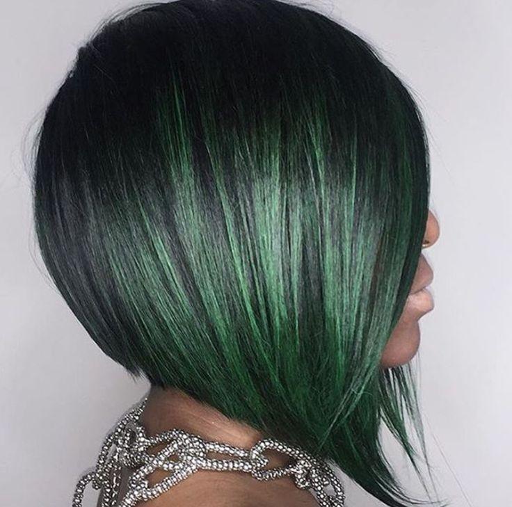 Lovely green bob @nomehayes - blackhairinformat...
