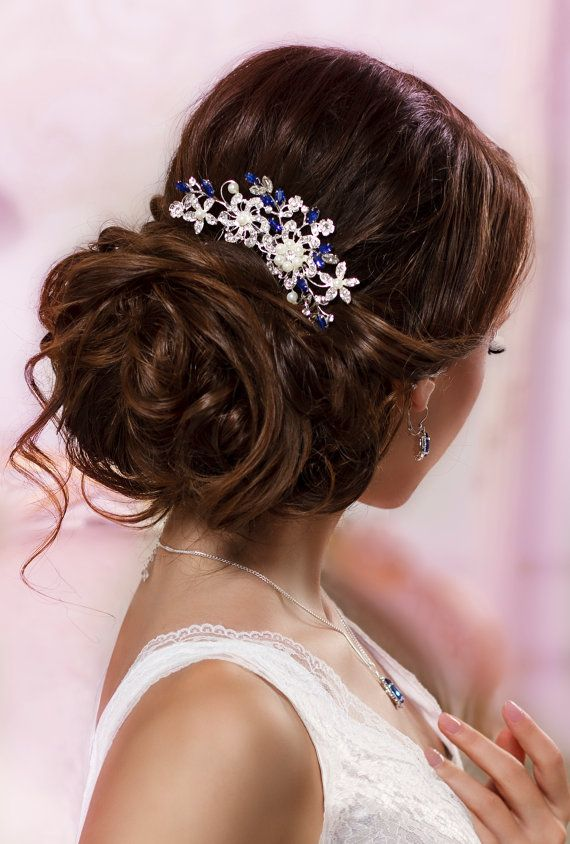 Blue bridal hair comb Something blue hair comb Sapphire blue Crystal hair comb R...