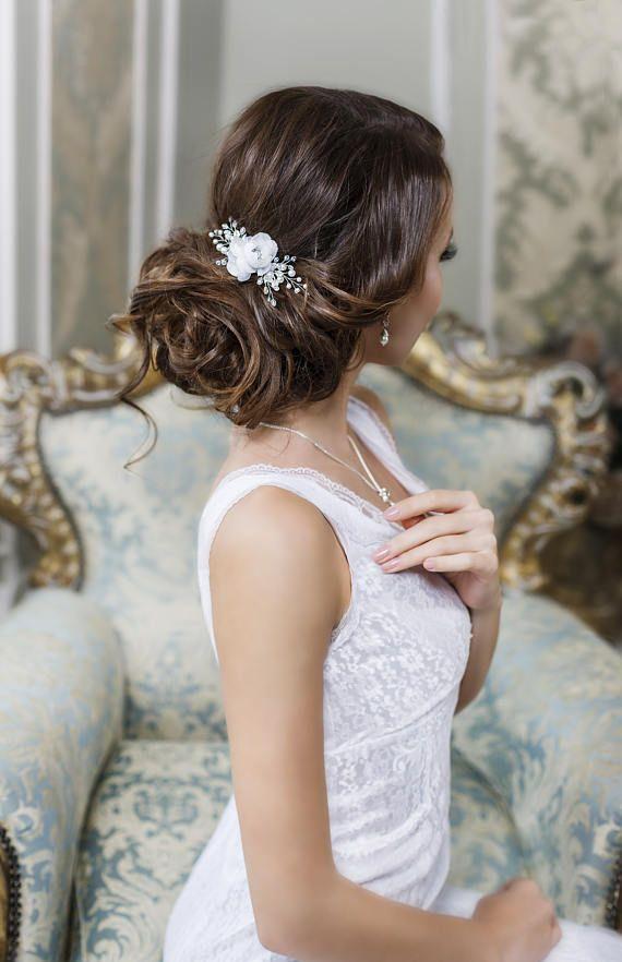 Bridal hair clip Bridal hair flower Wedding hair Flower hair clip Bridal Flower ...