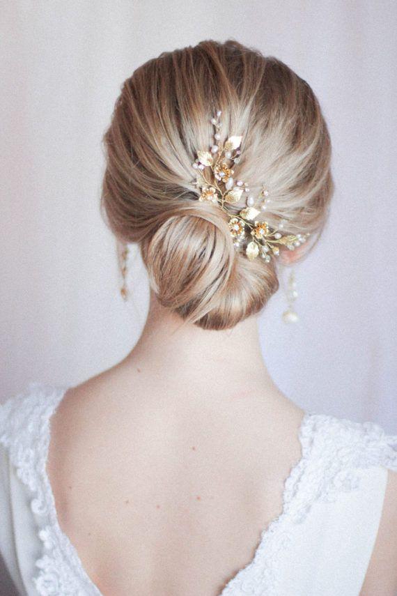 Bridal Hair Pins Bridal Headpiece Large Floral Hair Pins Hair Adornments for Bri...