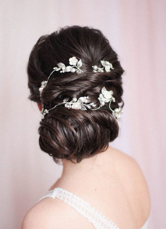 Bridal Hair Vine Extra Large Hair Vine Rhinestone Headpieece Bridal Headpiece We...