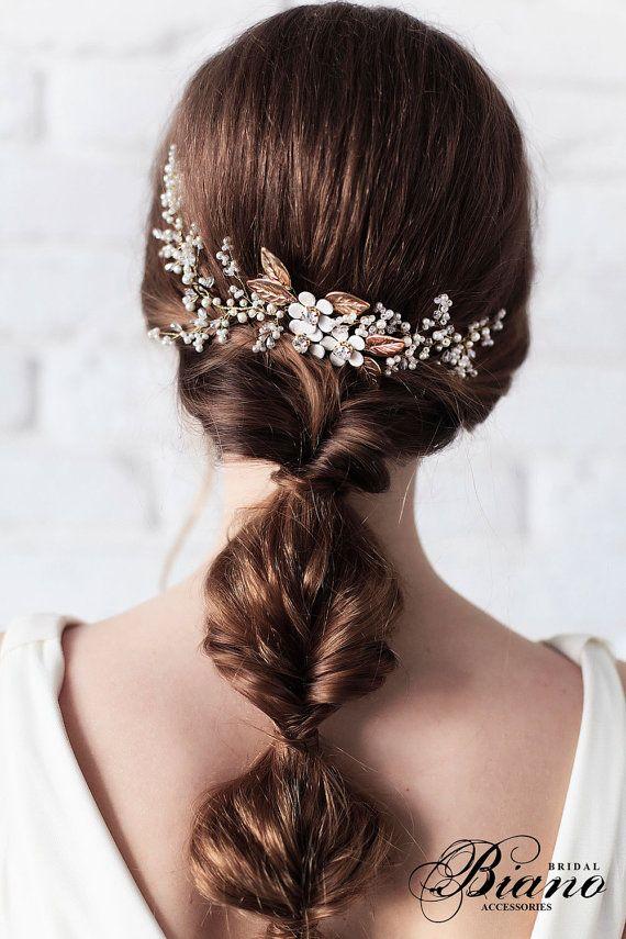 Bridal Headpiece, Bridal Hair Vine , Bridal Pearl Headpiece, Wedding Wreath, Wed...
