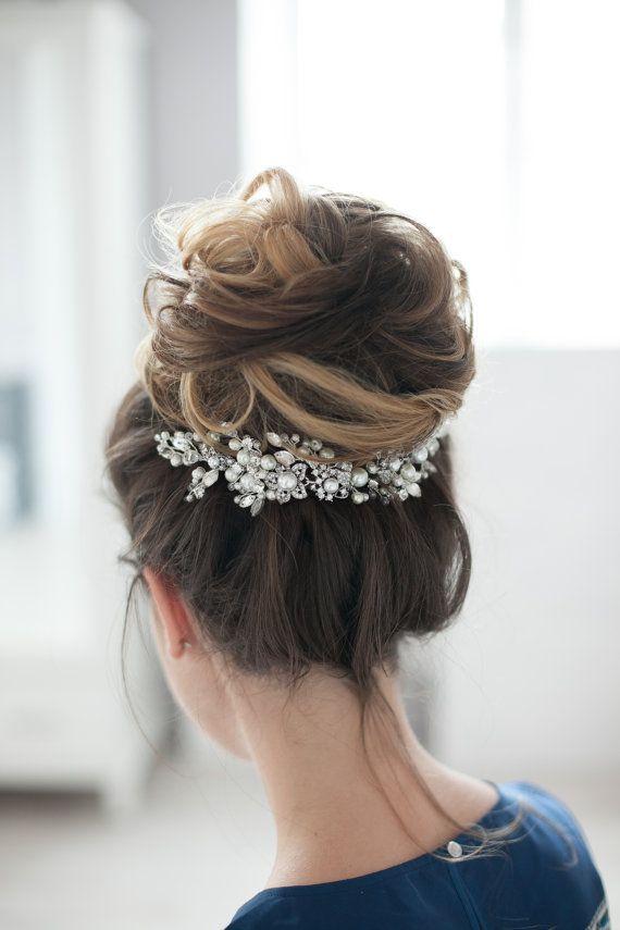 Bridal Headpiece Wedding Headpiece Bridal Rhinestone Crystal Hair Comb Decorativ...