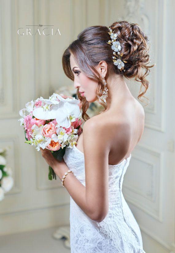 Flower Wedding headband Bridal Flower crown hair piece Wedding pearl headpiece B...