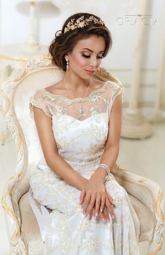Leaf Gold Bridal tiara Wedding crown Leaf headband Rhinestone Gold bridal headpi...
