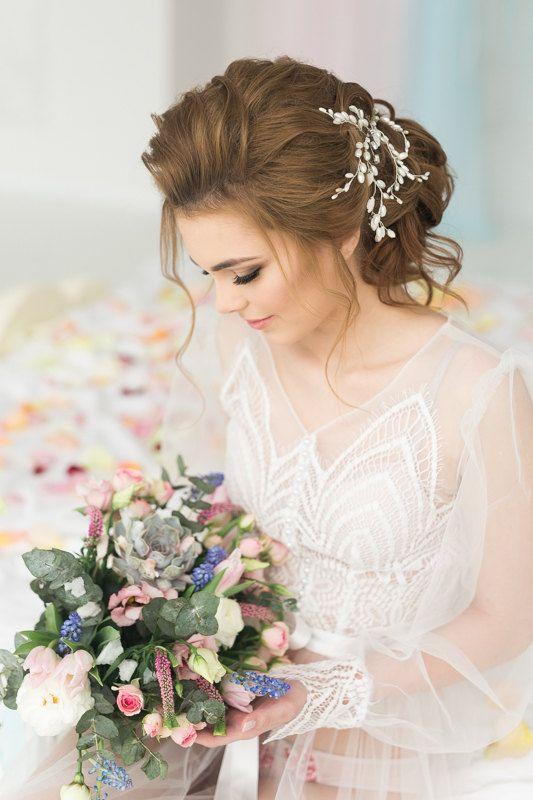 Wedding Hair Pins Wedding Headpiece Bridal Hair Pin Set of Two Wedding Hairpiece...