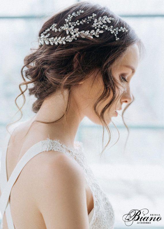 Wedding Headpiece, Pearl Hair Piece, Bridal Headpiece, Wedding Hairpiece, Crysta...