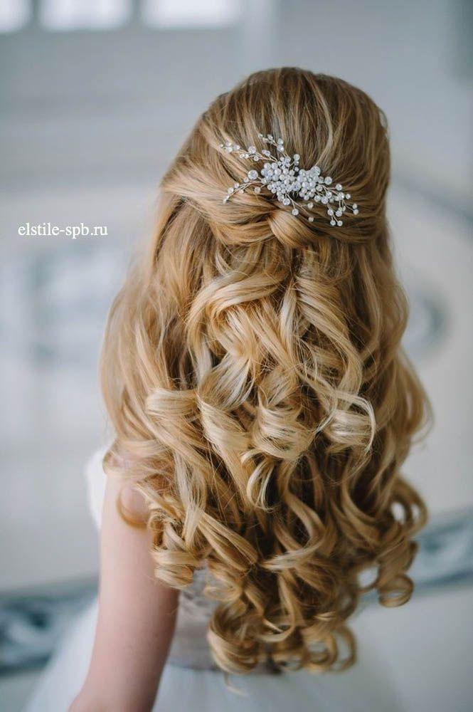 18 Stunning Half Up Half Down Wedding Hairstyles ❤ These elegant curly half up...