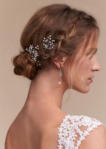Featured Hair Accessory: BHLDN; Wedding hairstyle idea.
