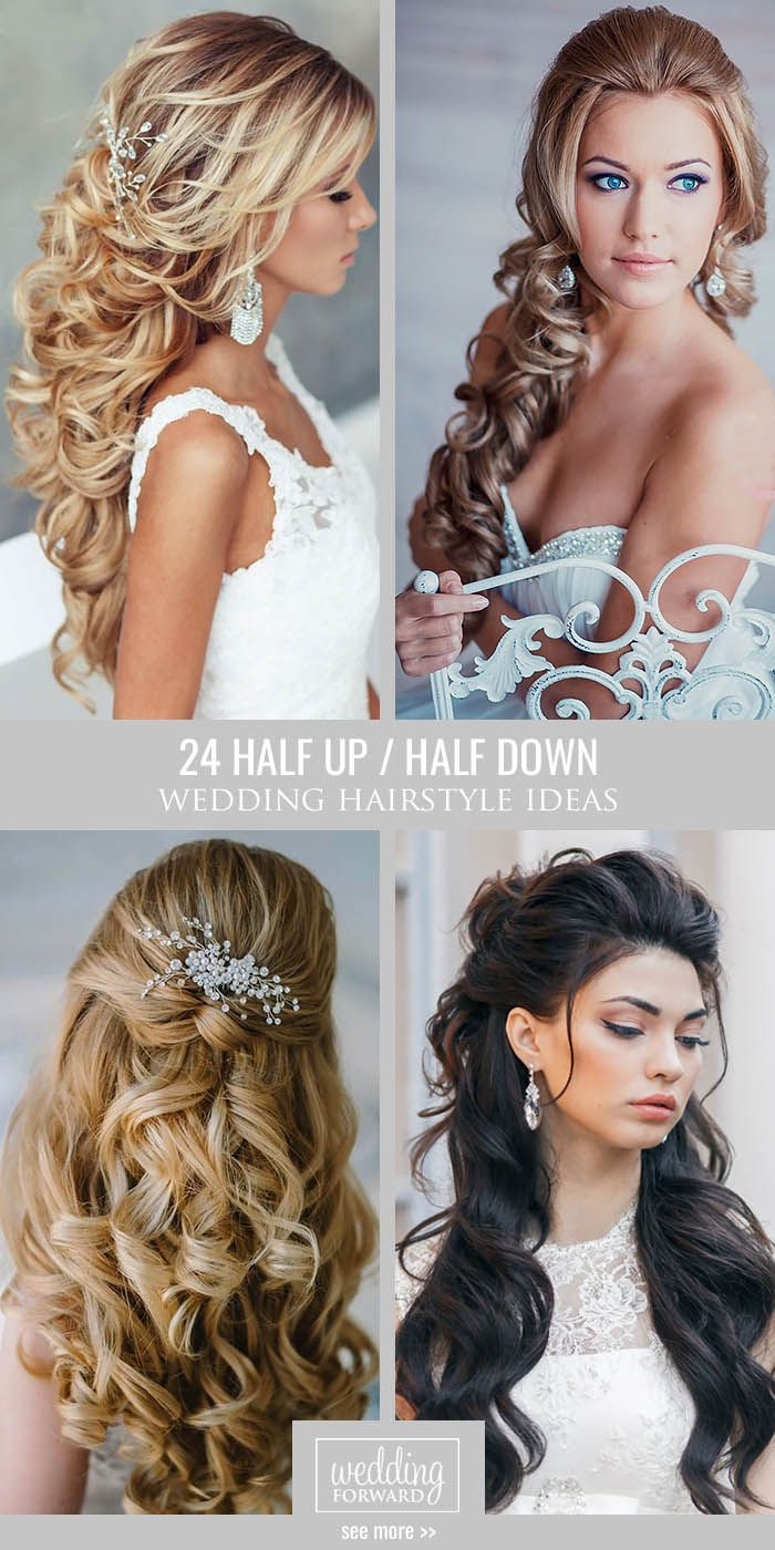 24 Beautiful Wedding Hairstyles Half Up Down Curly Hairstyle