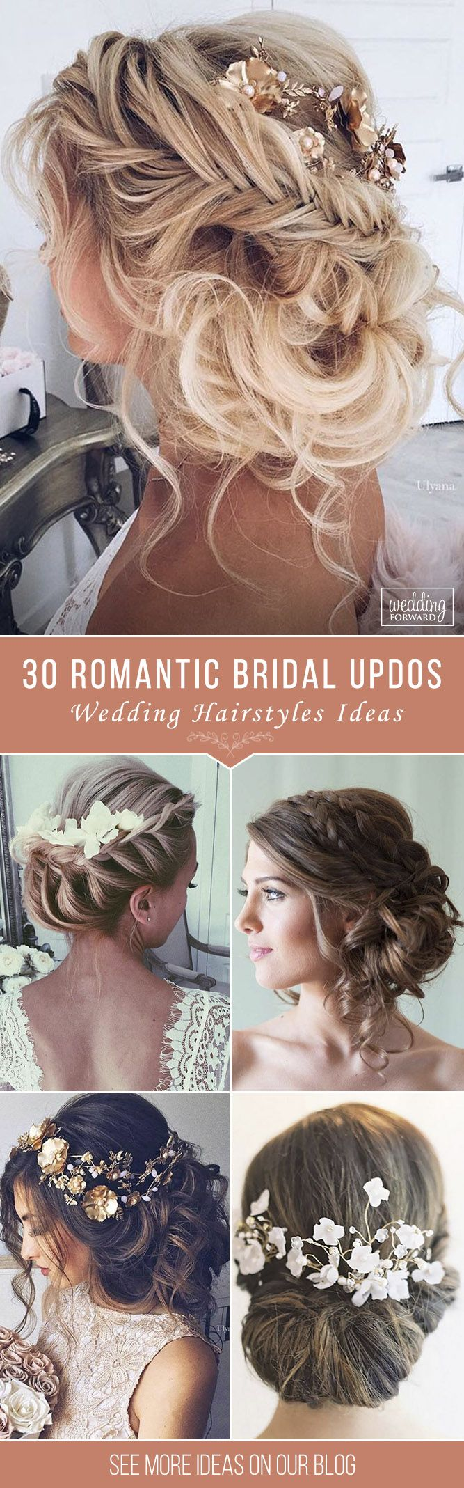 30 Wedding Hairstyles - Romantic Bridal Updos ❤ From high-volume braids to sof...
