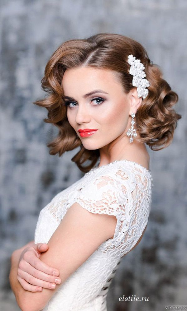 Beautiful wedding hairstyle for short hair from ElStyle. Vintage or classic. www...