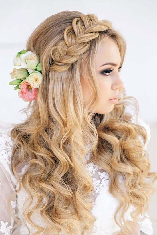Braided with flowers bridal hairstyle - Long hair, rustic, simple. See more: www...