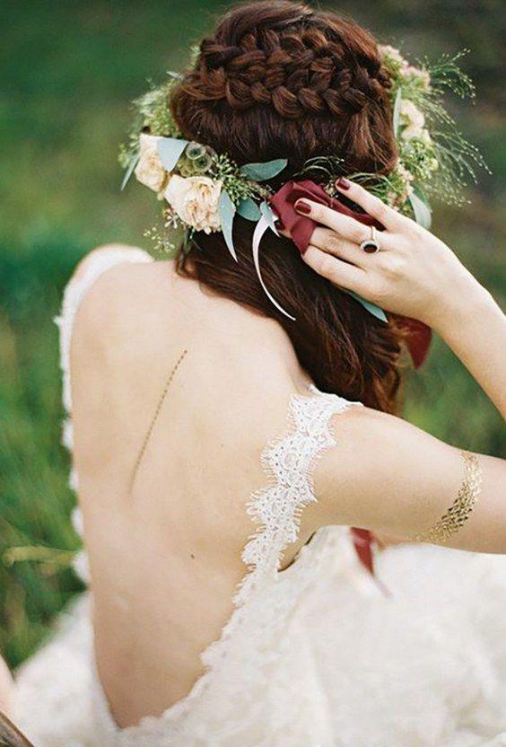 greenery wedding hair ideas travis kaenel / www.deerpearlflow...