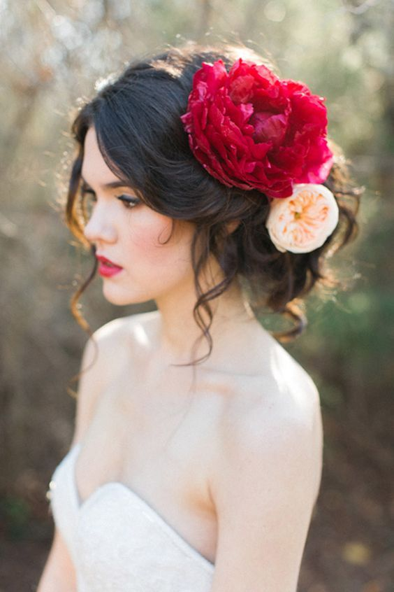hairstyle close up giant red peony allen tsai photography sarah keestone events ...