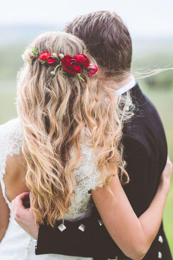 half up half down wedding hairstyle with red flower crown / www.deerpearlflow...