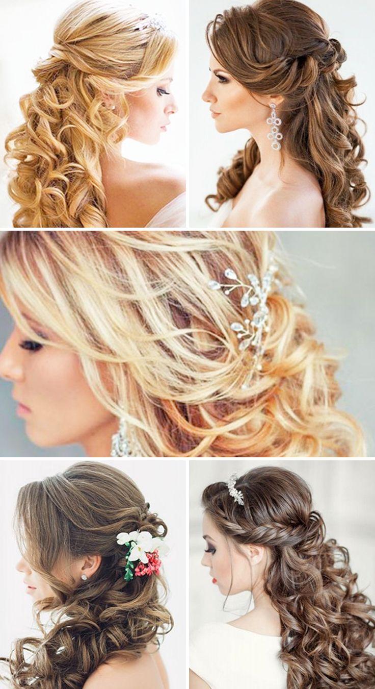Half Up Half Down Wedding Hairstyles ❤ These elegant curly wedding hairstyles ...