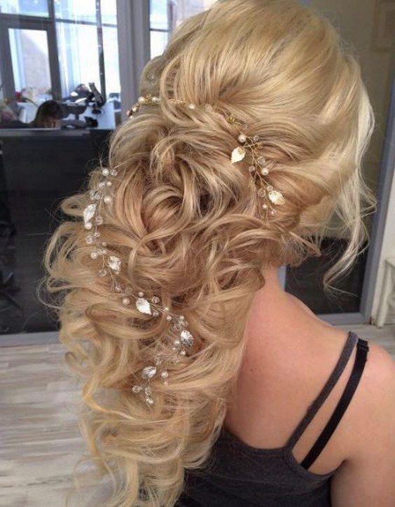teased curly wedding hairstyle with jewel leaf hair vine via elstile /  / www.hi...