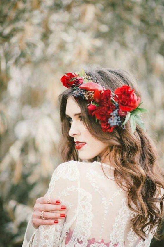 long wedding hairstyle with red flower crown / www.deerpearlflow...