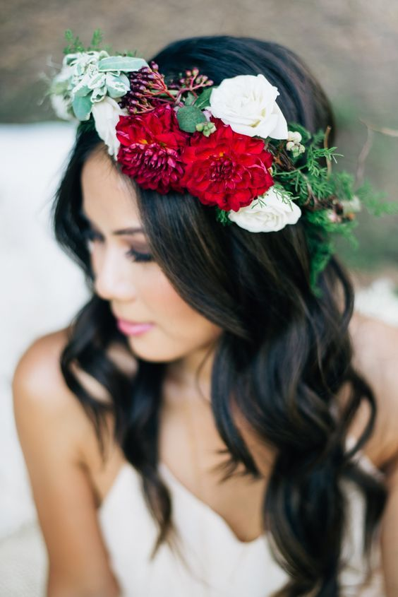 Red flower crown wedding hairstyle via Jenna Bechtholt Photography / www.deerpea...