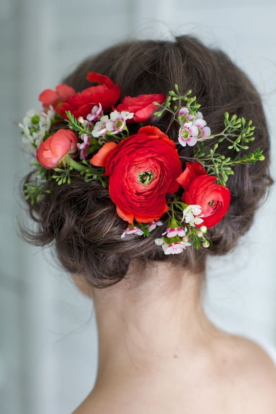 wedding updo hairstyle with red flowers / www.deerpearlflow...