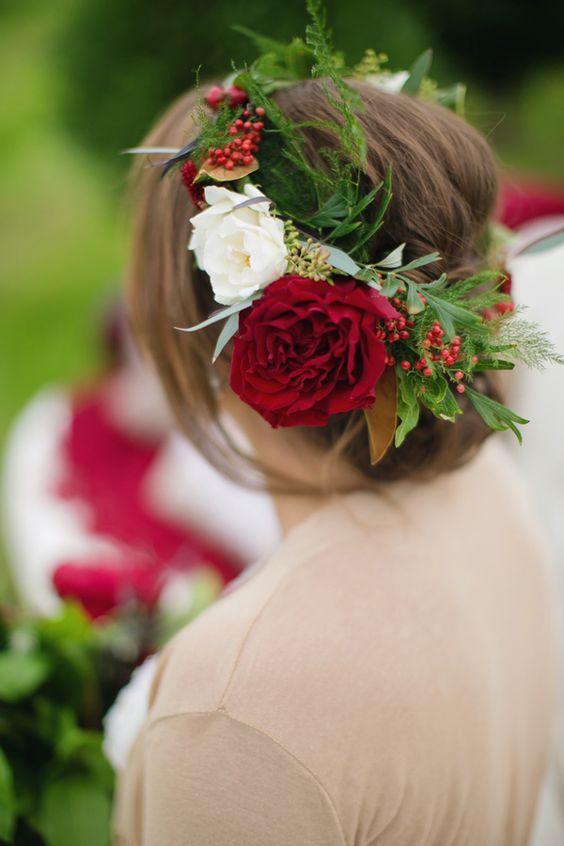 wedding updo with red flower crown via Janeane Marie Photography / www.deerpearl...