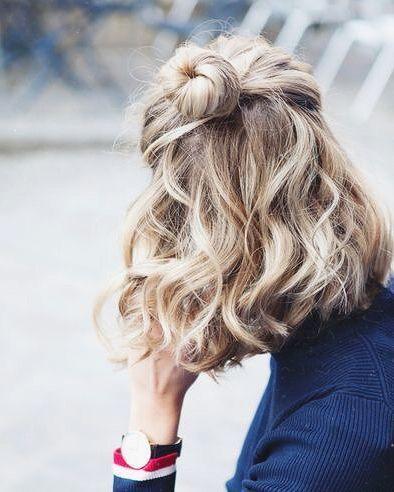 half bun short hair