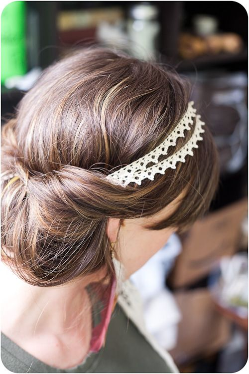 all you have to do is put the headband on top of your hair (while your hair is d...