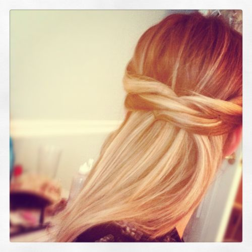 criss-cross half up hair