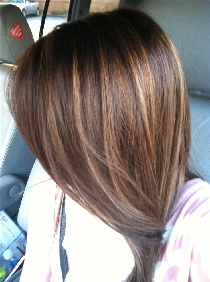 Dark brown hair with caramel highlights #color