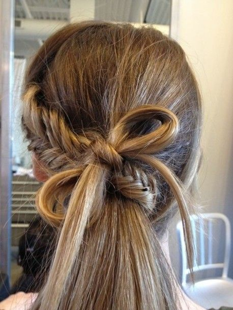 Fishtail braid and bow ponytail. / Braids #hair