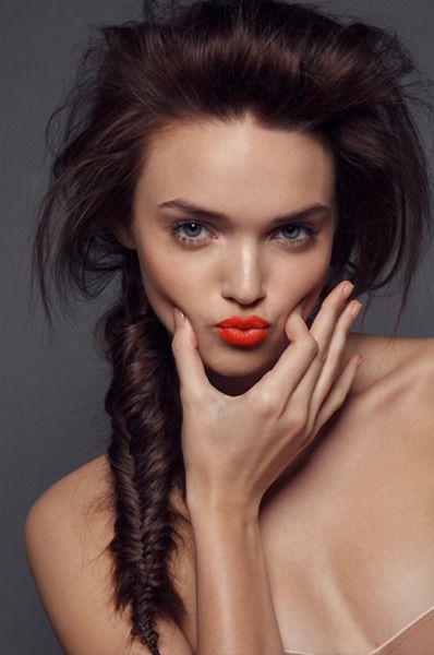 Fishtail braid and orange lips