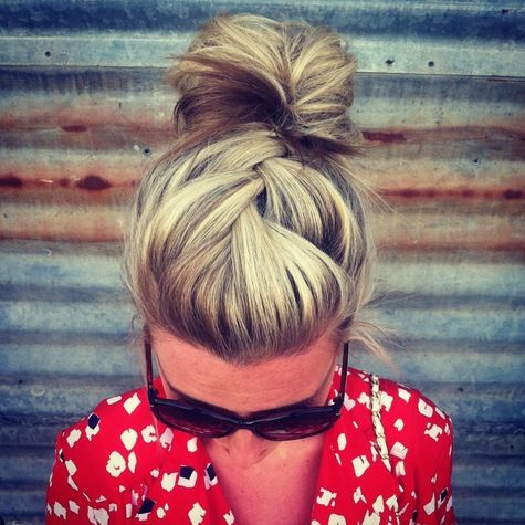 Love this braided updo bun! / #hair