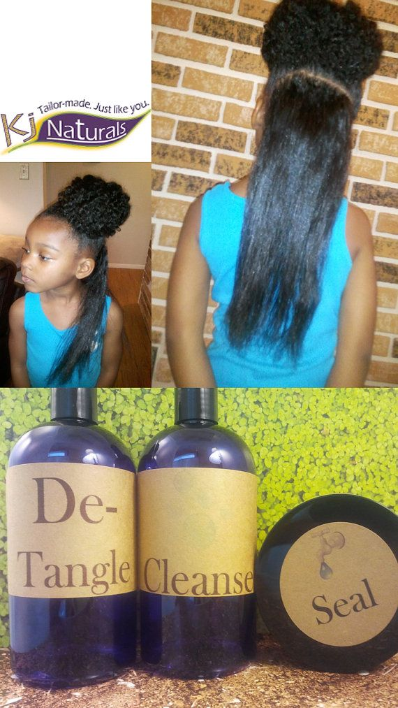 Natural Hair Growth Product Kit for Adults & Kids: 40 oz, Detangler, Cleanser/Co...