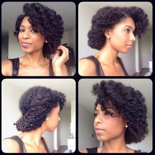 Try a roll and tuck. Deep-part your favorite side, and roll your curls upward al...