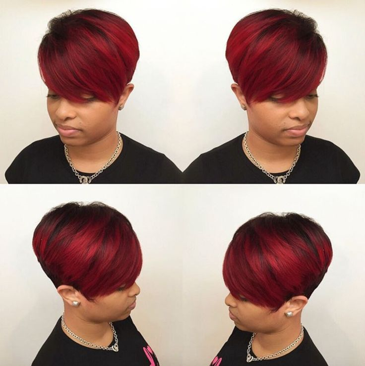 Beautiful red pixie by @hairbylatise - community.blackha...