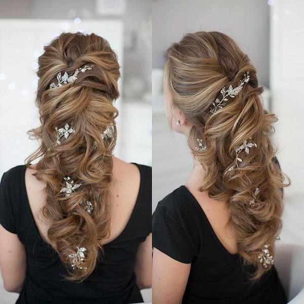 Tonya Pushkareva Long Wedding Hairstyle for Bridal via tonyastylist / / www.himi...